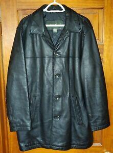 Mens Eddie Bauer Black Leather Jacket Lined Size Large