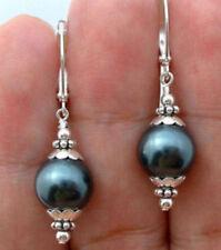 12mm Black Sea Shell Pearl Round Bead Earrings AAA
