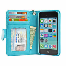 iPhone 5C Book Folio Wallet Leather Case Money Bank Card Clear Window ID Pocket