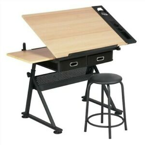 Drafting Drawing School Artist Desk w/Stool and Two Drawers-Height Adjustable