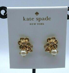 kate spade new york Gold-Tone Imitation Pearl Flower Stud Earrings