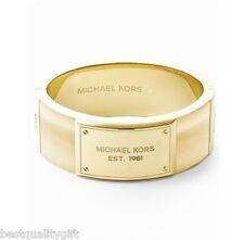 Plaque Horn Hinge Bangle Bracelet-Mkj3341 Michael Kors Gold Tone Heritage Logo