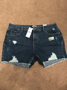 Dorothy Perkins Blue Denim Shorts Tall Size 16 RRP £20 New With Tags