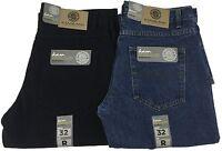 Mens KAM Regular Fit Heavy Duty Denim Jeans Black Stone Wash Waist Size 30 48