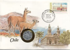 superbe enveloppe CHILI CHILE  pièce monnaie 10 CENTAVOS 1979 UNC NEW timbre
