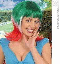 PARRUCCA DONNA ITALIA Tricolore Tifo Mondiali Nazionale Carnevale Azzurri S0700