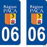 2 STICKERS AUTOCOLLANTS PLAQUE D'IMMATRICULATION DEPARTEMENT 06 Alpes Maritimes