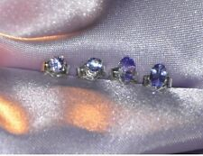 TWO PAIRS OF  PETITE TANZANITE EARRINGS  5mm X 3mm OVAL & 3mm  ROUND