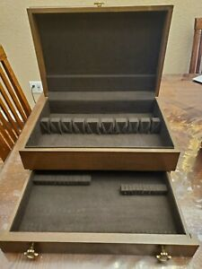 Vintage Silverware Flatware 2 Drawer Brown Wooden Box Storage Chest Only