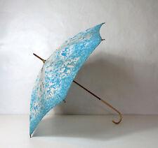 ancien parapluie bleu et blanc faons Bambi petit format Vintage