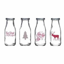 KitchenCraft We Love Christmas 300ml Glass Milk Bottle Screw Top Jar - Set of 4