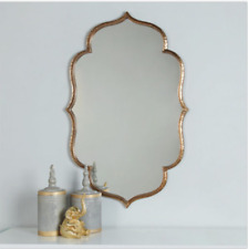"Antique Gold Shaped Wall Vanity Buffet Mirror 39"" H Bohemian Moroccan NEW"