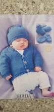 Sirdar Knitting Pattern #1365 to Knit Childs Cardigan Hat Bootees & Mittens 0-7y