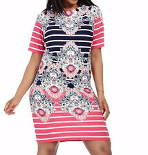 Eliza J Plus Size Matte Jersey Kaleidoscope Stripe Shift Dress Size 24W
