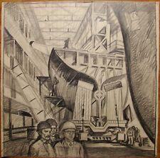 Russian Ukrainian Soviet pencil drawing plant realism working man factory
