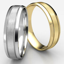 6mm Beveled Edge Satin Finished Man Men's Women's Gold Wedding Band Rings