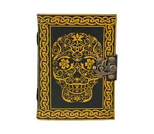 Day of the Dead Skull leather journal , book of shadows, Wiccan Pagan Witch