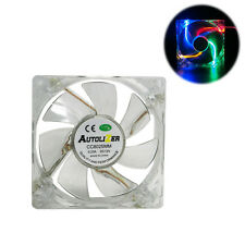 Multicolor Quad 4-LED Light Quite Clear 80mm PC Computer Case Cooling Fan Mod