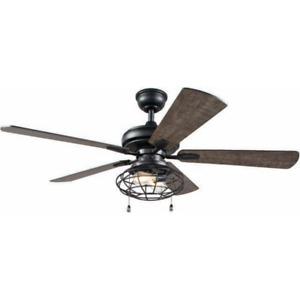 NEW!!  HOME DECORATORS Ellard 52 in. LED Indoor Matte Black Ceiling Fan w Light