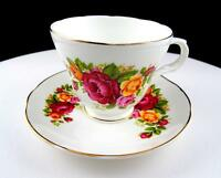 "CROWN TRENT STAFFORDSHIRE ENGLAND MULTI COLOR ROSES 2 7/8"" CUP AND SAUCER SET"