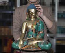 Tibet Bronze inlay Silver Turquoise Sakyamuni Shakyamuni Tathagata Buddha Statue