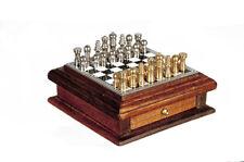 Dollhouse Miniature -Metal Chess Set w/ Walnut Wooden Storage Drawer- 1/12 Scale