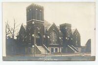 "Antique ""M.E. Church"" Street View Fullerton, Nebraska Postcard 1909"