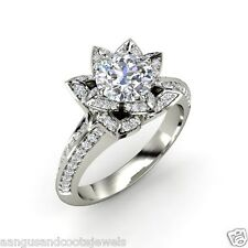 1.97 ct Round Cut Rose Petal Diamond Engagement Ring 14k Solid White Gold