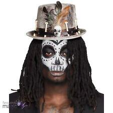 Adultos Halloween Voodoo Magia Cráneo Huesos Pluma Sombrero Disfraz Accesorio
