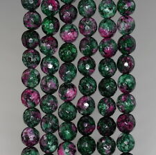 """8MM SESAME JASPER GEMSTONE RUBY ZOISITE FACETED ROUND LOOSE BEADS 15"""""""