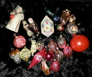 lot of 24 Vintage soviet Glass Christmas Ornaments collection