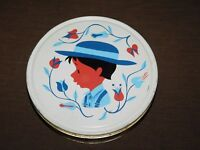"VINTAGE 10"" ACROSS AMISH COUNTRY BOY WITH HAT FLOWERS ROUND TIN  *EMPTY*"