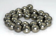 """16MM PYRITE GEMSTONE FACETED ROUND LOOSE BEADS 7.5"""""""
