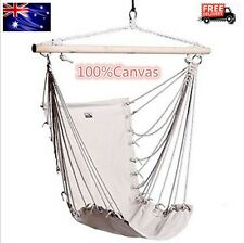 Hammock Chair Hanging Swing Outdoor Camping Indoor Garden White 100% Canvas