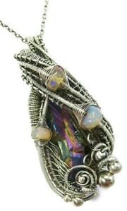 Wire-Wrapped Titanium Quartz Pendant with Ethiopian Opals in Sterling Silver