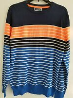 Club Room Mens Blue Orange Double Stripe Crew Neck Pullover Sweater