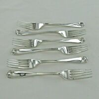 GOOD STERLING SILVER  SET OF 6 OLD ENGLISH DESSERT FORKS, LONDON 1877