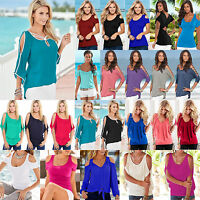 Summer Celeb Womens Sexy Off Shoulder Blouse T-shirt Casual Tunic Tops Plus Size