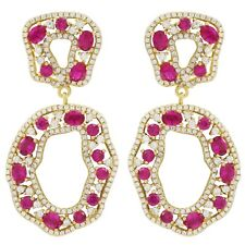 Sterling Silver Gold Finish Lab-created Ruby with Cubic Zirconia Earring
