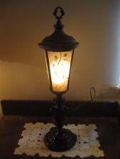 Antique RAINAUD? Torch? Lamp Reverse Painted Peacock Convex Slag Glass Shade