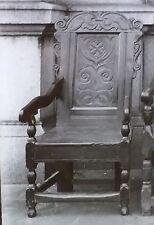 17th c. English Oak Arm Chair, Magic Lantern Glass Slide