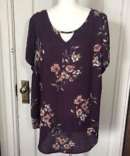 Torrid Top Size 2 Purple Floral Blouse Short Sleeve Womens 2X Tunic