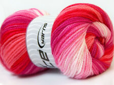 4 PELOTES DE LAINE ICE YARNS DANCING BABY ROUGE FUCHSIA ROSE BLANC