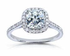 CERTIFIED 2.20CT CUSHION CUT DIAMOND ENGAGEMENT RING 14K WHITE GOLD HALO RING