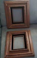 PAIR Vintage Wood Picture Frame* Deep Hand Carved Black Velvet Insert