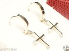 14Kt Pure Solid White Gold 12MM Huggie Earrings w/DANGLING CZ CROSS Guaranteed!