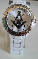 SILVER/WHITE FINISH WITH SILVER DIAL BLACK MASON FASHION DRESSY MEN'S  WATCH