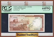 """TT PK 55s 1952-64 LEBANON 1 LIVRE """"SPECIMEN"""" PCGS 64 PPQ VERY CHOICE NEW!"""