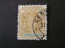 TRANSVAAL, SCOTT # 152, 1/- VALUE YELLOW 1894  COAT OF ARMS WAGON W/SHAFTS USED