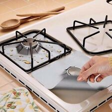 Stove Burner Protection Covers Silver Square Range Protector Gas New Set of 4